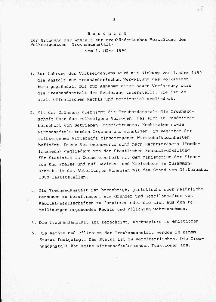 Vorschaubild Ministerratsbeschluss zur Gründung der Treuhandanstalt und seiner Verordnungen vom 1. März 1990. Quelle: Bundesarchiv, DC 20-I/3/2922
