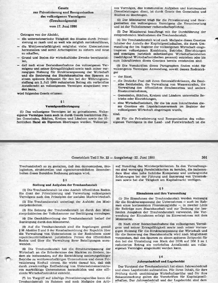 Vorschaubild Gesetzblatt_1990_I_33_02_Treuhandgesetz. Quelle: GBl. I 1990, Nr. 33, S. 301-303.