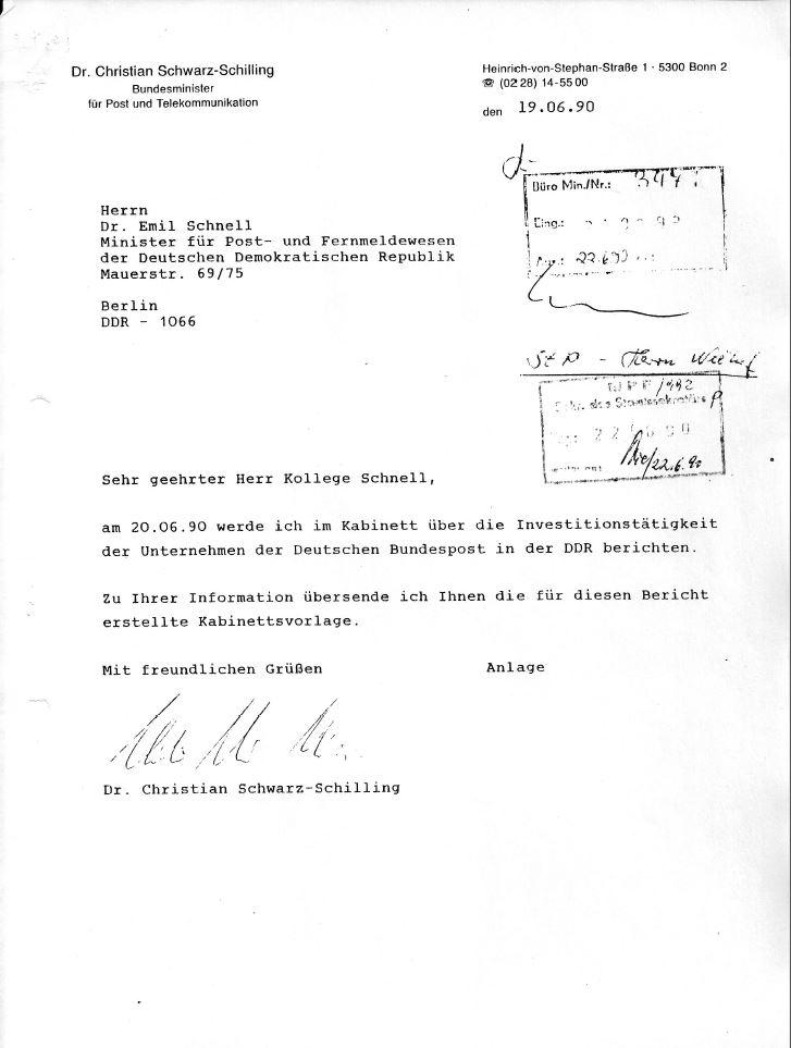 Kabinettsvorlage BMPT Investitionstätigkeit. Quelle: Privatarchiv Hans-Jürgen Niehof