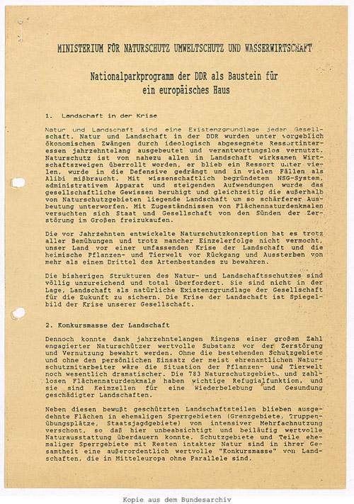 Konzept Nationalparkprogramm vom 30.03.1990. Quelle: BArch, DK 5/6234