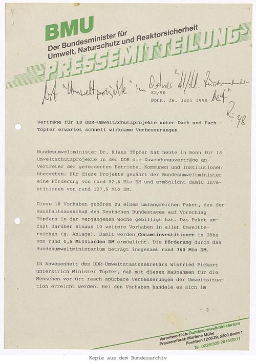 Pressemitteilung des Bundesministeriums für Umwelt, Naturschutz und Reaktorsicherheit vom 26. Juni 1990. Quelle: BArch, DK 5/6042