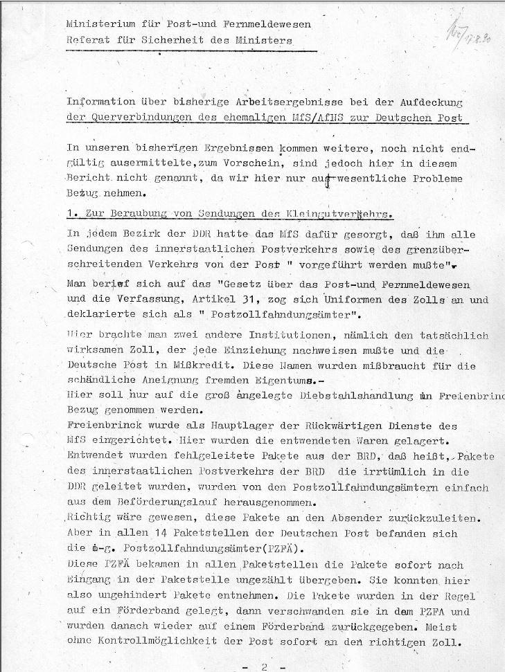 Gutachten des Referats für Sicherheit des Ministers zur Verstrickung von MfS und dem Post- und Fernmeldewesen der DDR vom August 1990.