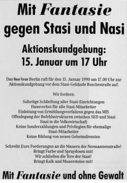 Flugblatt zur Demonstration am 15. Januar 1990