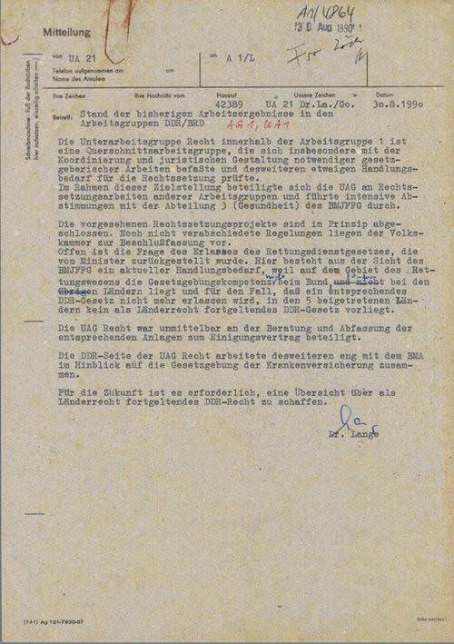 Stand der bisherigen Arbeitsergebnisse in den Arbeitsgruppen DDR/BRD vom 30.08.1990, Quelle: Privatarchiv Jürgen Kleditzsch