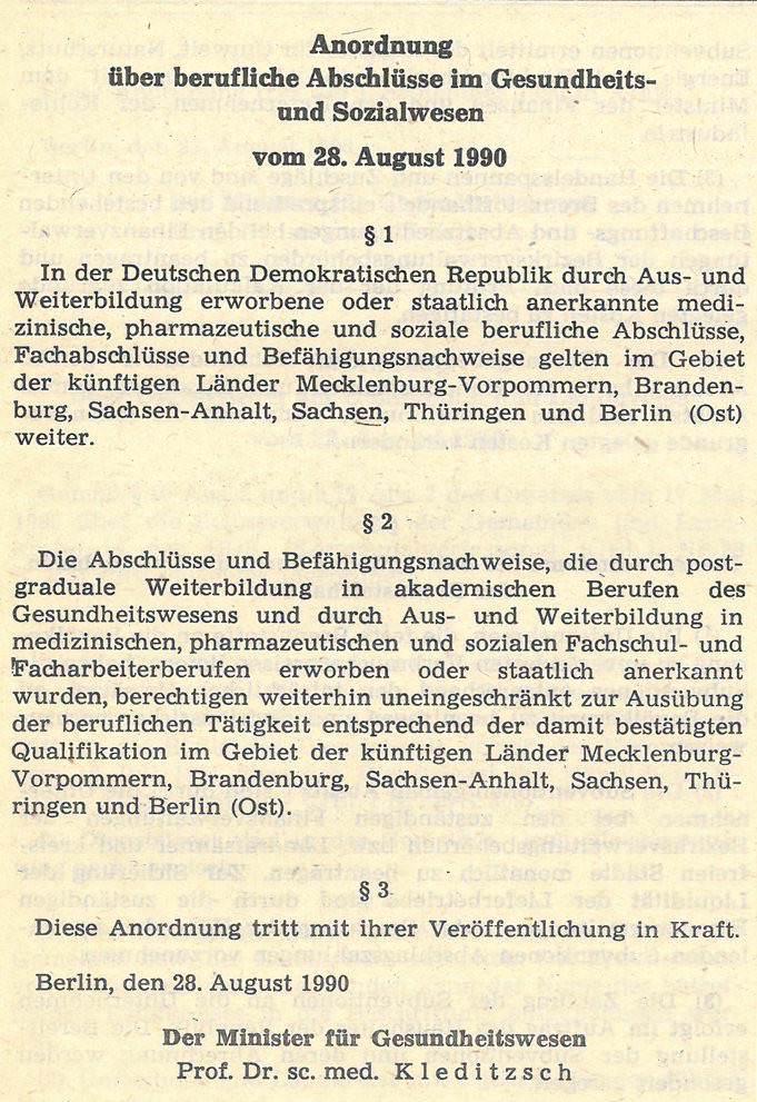 Anordnung über berufliche Abschlüsse im Gesundheits- und Sozialwesen vom 28. August 1990. Quelle: Gesetzblatt der DDR 1990, Teil I, Nr. 59