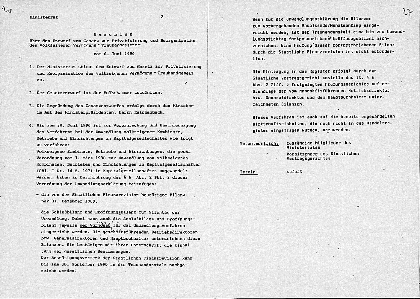 Vorschaubild Beschluss des Ministerrates über den Entwurf des Treuhandgesetzes. Quelle: BArch, DC 20 – I/3/2979