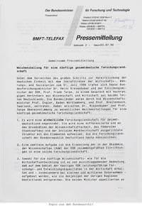 Gemeinsame Pressemitteilung BMFT und MFT vom 3. Juli 1990. Quelle: BArch, DF 4/24357
