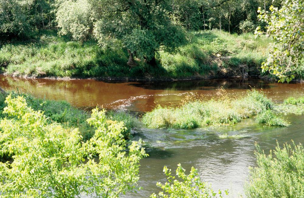 Durch Abwasser der chemischen Industrie hat sich das Wasser der Mulde rot gefärbt. Quelle: Bundesstiftung Aufarbeitung, Fotobestand Klaus Mehner, 88_0712_UMW_Mulde_01