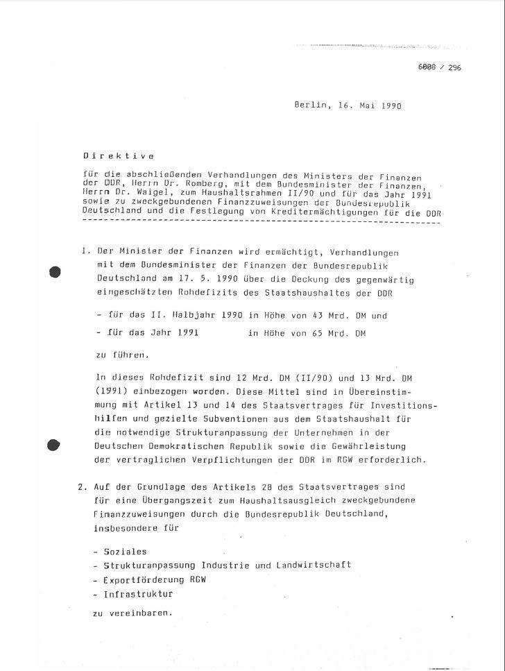Vorschaubild Direktive für die Verhandlungen zwischen Walter Romberg und Theo Waigel vom 16. Mai 1990. Quelle: Bundesarchiv, DC 20/6008