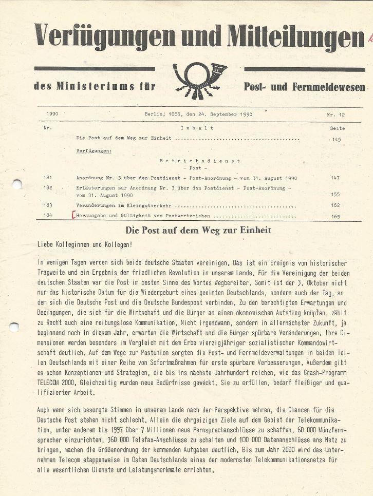 Die Post auf dem Weg zur Einheit. Quelle: Hans-Jürgen Niehof