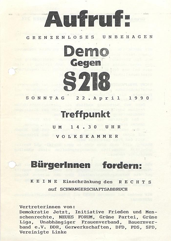 Flugblatt mit Aufruf zur Demonstration gegen §218 am 22. April 1990. Quelle: BArch, DY 53/869