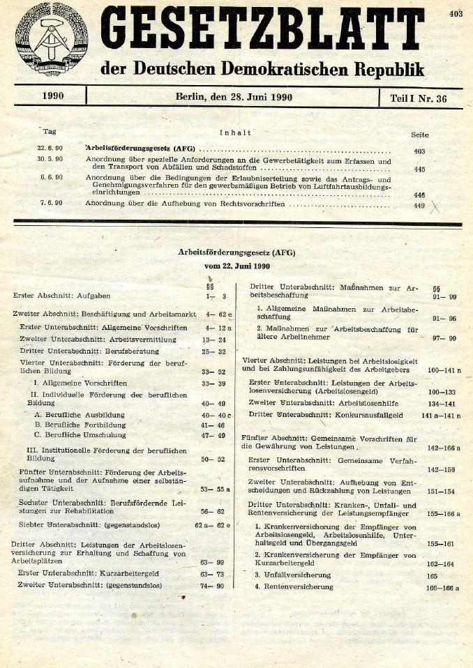 Gesetzblatt der DDR, Teil I, Nr. 36