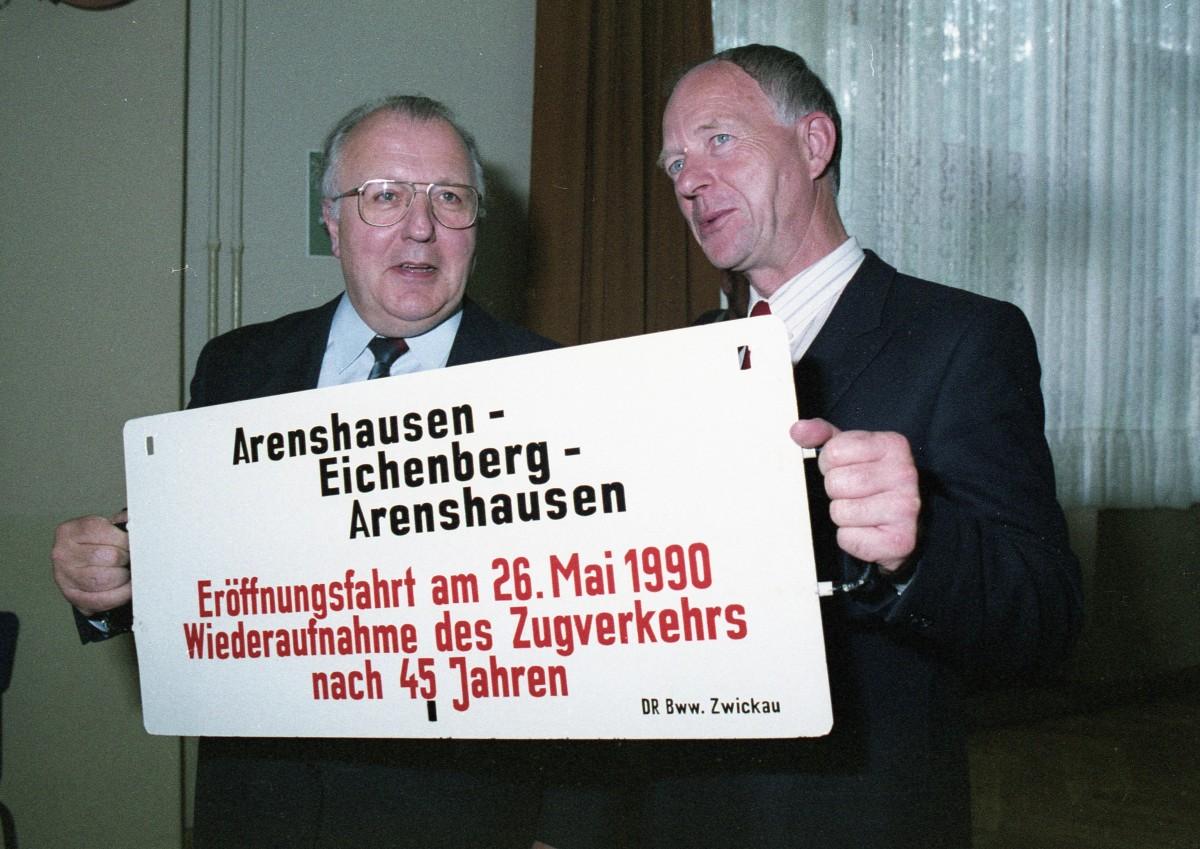 Wiedereröffnung des Zugverkehrs nach 45 Jahren zwischen Arenshausen und Eichenberg.