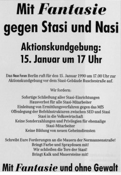 Flugblatt zur Demonstration am 15. Januar 1990
