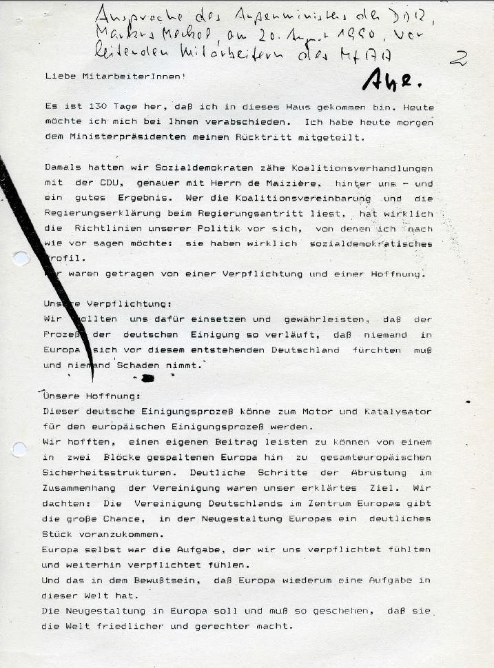 Rücktrittsansprache Vorlass und Meckel. Quelle: StAufarb, Depositum Markus Meckel, Nr. 624, 3 S.