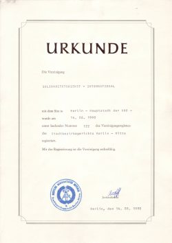 Gründungsurkunde des Solidaritätsdienst international e.V. vom 14. August 1990. Quelle: SODI